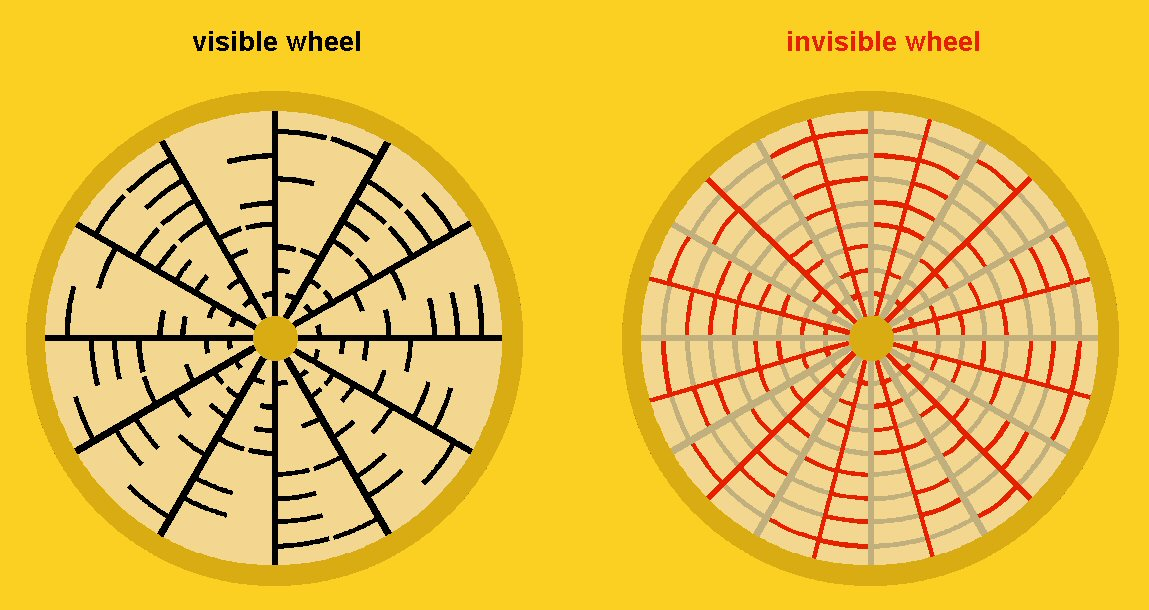 Twelve (red) radials fit perfectly between the existing (black) ones. To avoid confusion I will remain colouring  the visible wheel  black and the invisble one red.