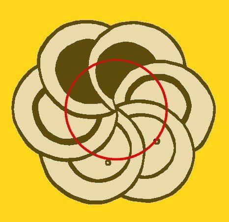 The imaginary assisting circle.