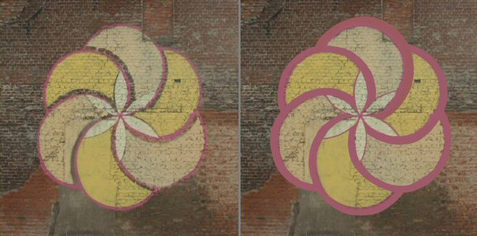 Left: The Wall painting unfinished. Right: As meant to be. (Photo-shopped)