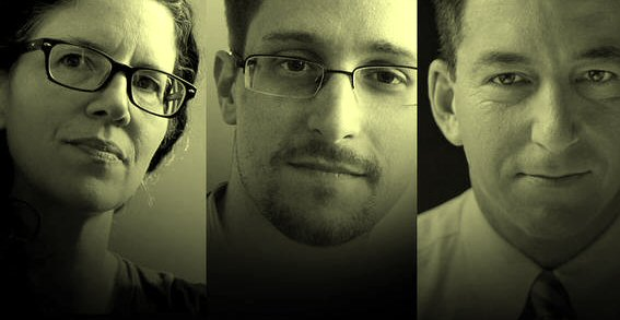 Laura Poitras, Edward Snowden and Glenn Greenwald.