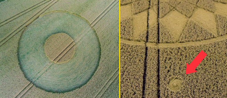 "Left: West Kennett Longbarrow 2014, a datapoint? (reconstructed picture) Right: The signature at the ""all-seeing eye""."
