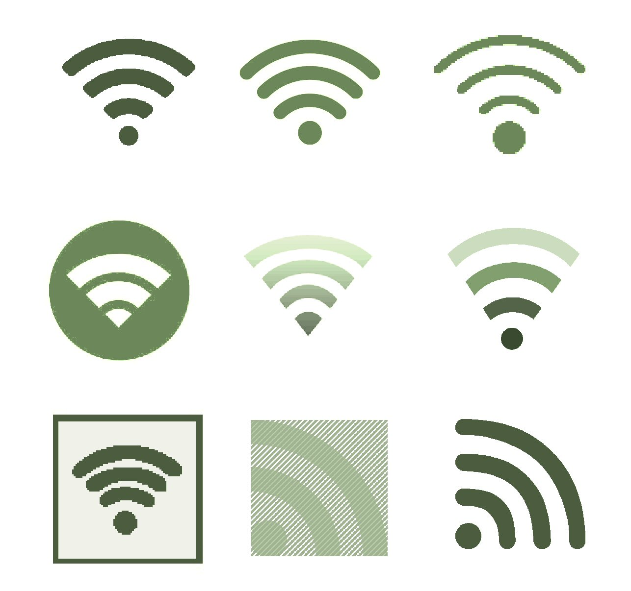 Wi-fi icons without antennas.