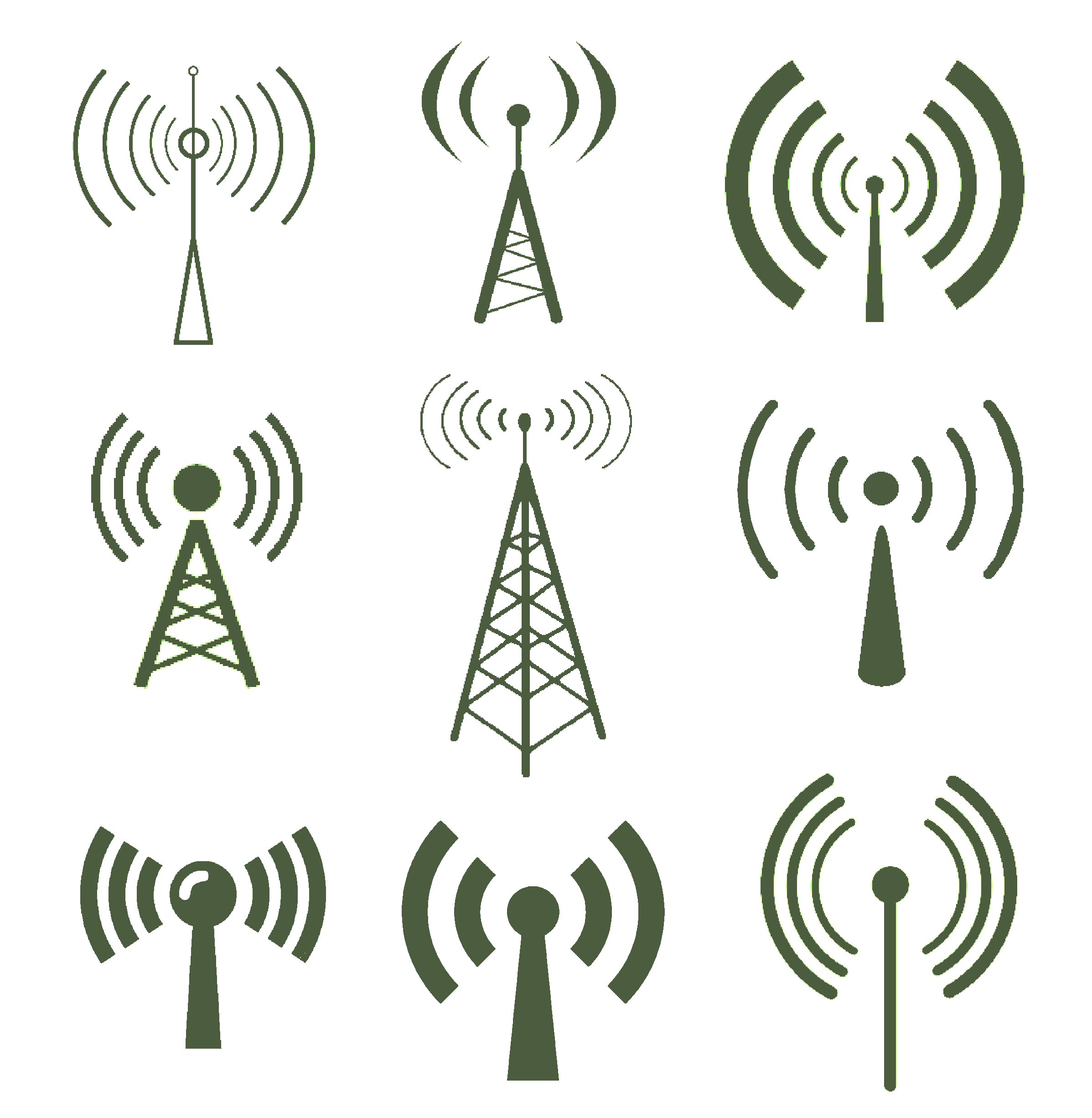Wi-fi icons with  antennas.