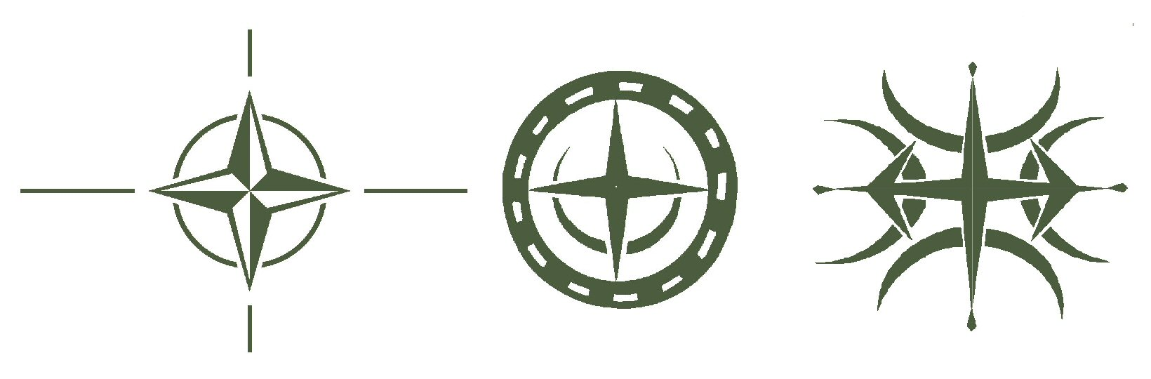 Left: Nato logo.   Middle: Winterbourne Stoke.   Right: Luxemborough.