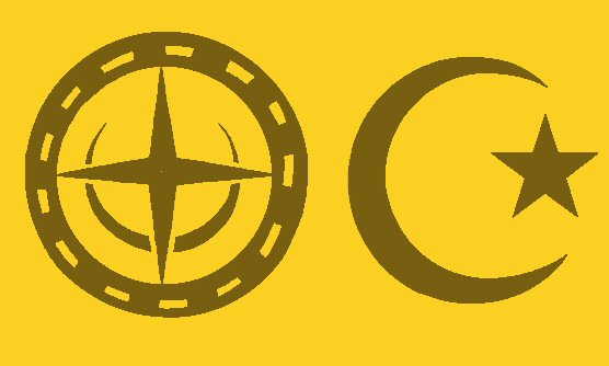 Left: the crop circle design. Right: Islam symbol.