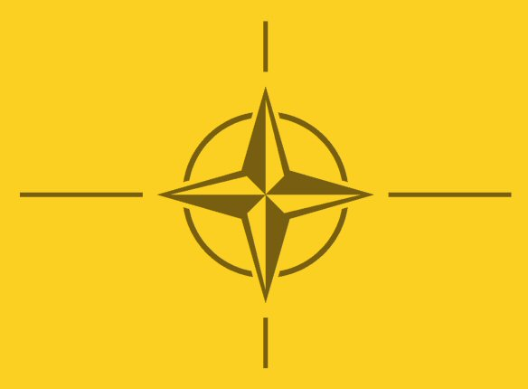 The logo of NATO.